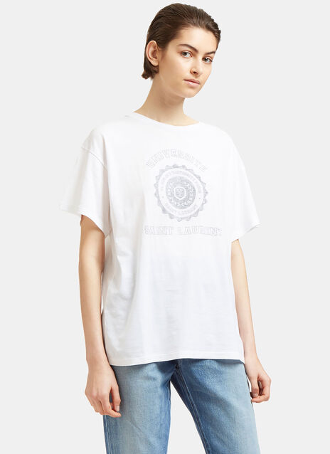 University Logo Print Crew Neck T-Shirt