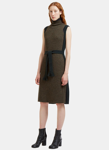 Convertible Triple-Layered Ribbed Knit Dress