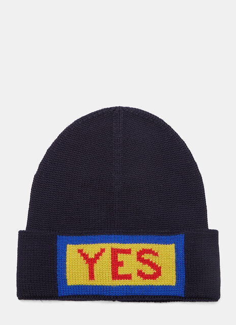 Yes Intarsia Knit Beanie Hat
