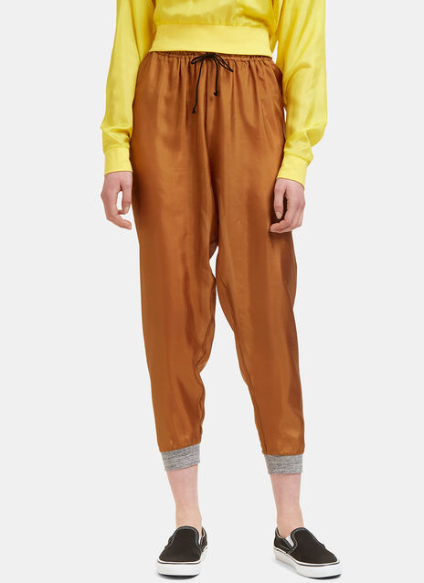 Dropped Crotch Silk Track Pants