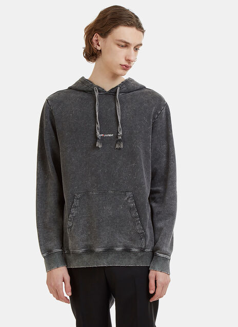 Distressed Stone Washed Logo Print Hooded Sweater