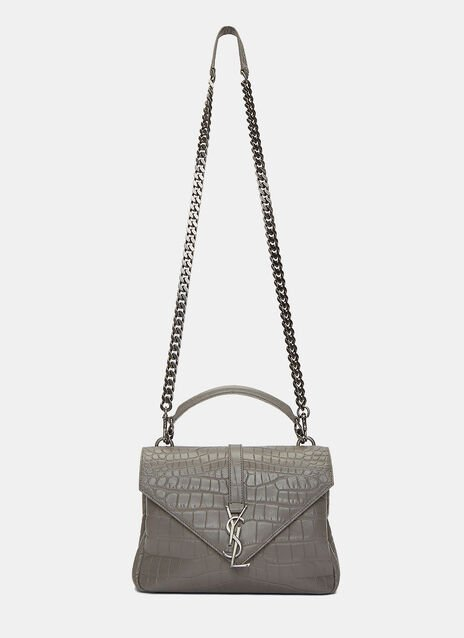Classic Medium College Faux Crocodile Handbag