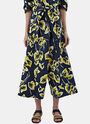 Oversized Floral Print Wide Leg Pants