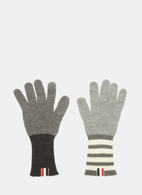 4 Bar Stripe Fun Mix Cashmere Gloves