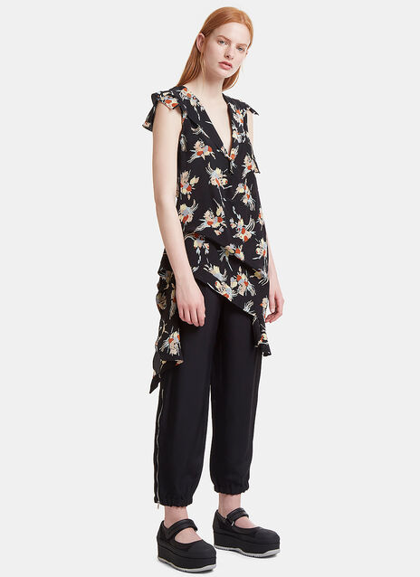 Asymmetric Ruffled Floral Top
