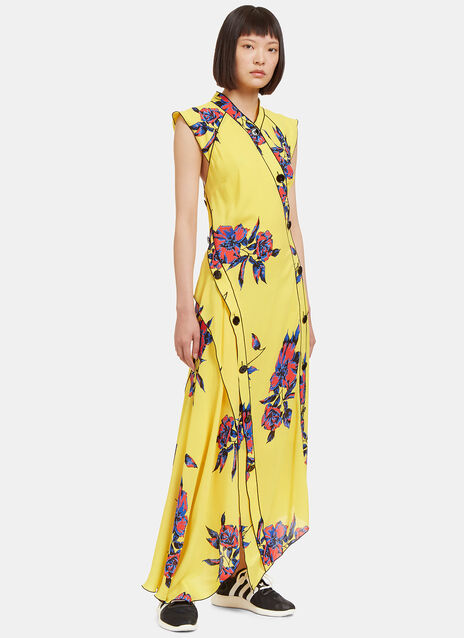 Long Lily Print Asymmetric Frilled Dress