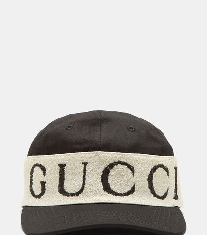 terry panelled cotton twill baseball cap black white gucci uk price size