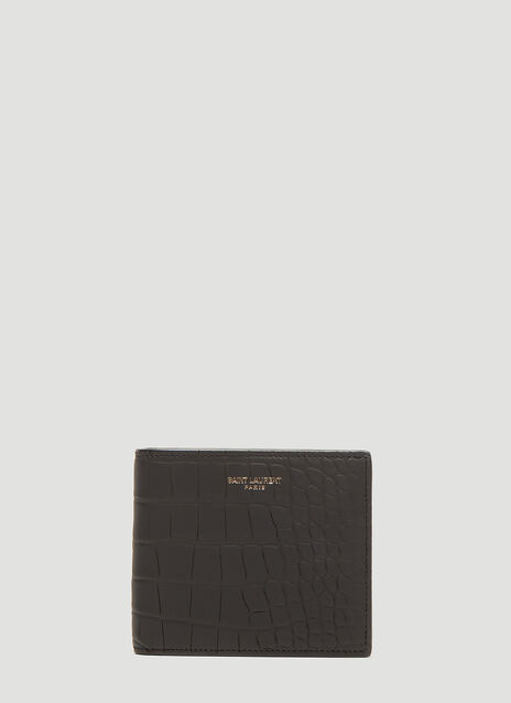 생 로랑 Saint Laurent Crocodile Bi-Fold Wallet in Black