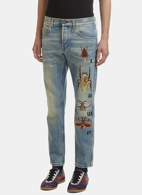 Insect Embroidered Slim Leg Jeans