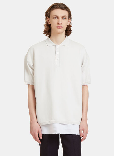 Oversized Layered Knit Polo Shirt
