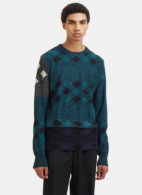 Diamond Patchwork Intarsia Knit Sweater