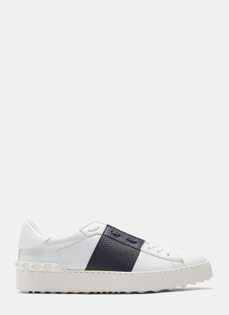 Contrast Grained Panel Stud Sneakers