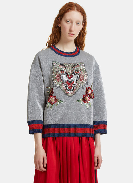 Sequin Embroidered Angry Cat Lurex Sweater