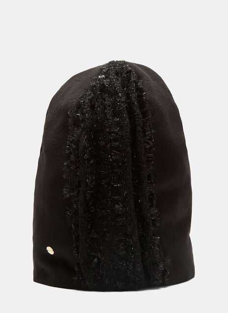 Demetra Lurex Fuzzy Knit Panel Hat