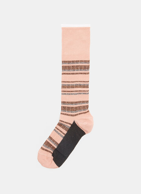 Calza Metallic Striped Socks