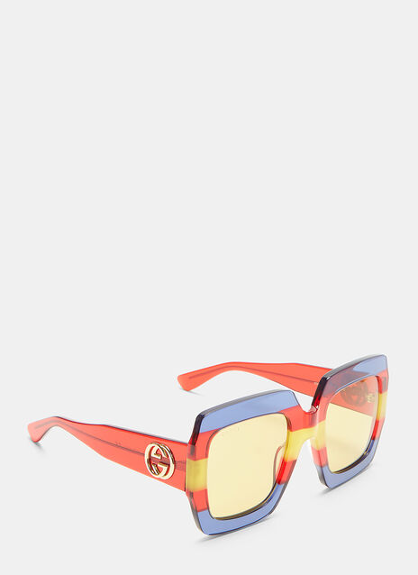 Oversized Tri-Colour Square Sunglasses
