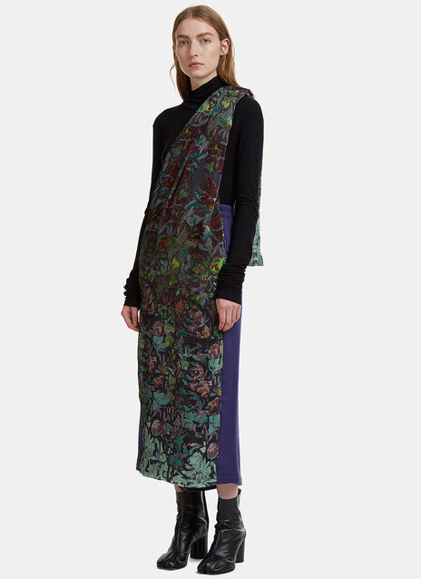 Anntian Asymmetric Floral Seersucker Skirt Pants