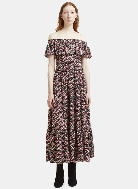 Domino Rosa Print Tiered Dress