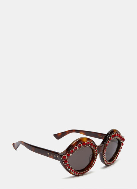 Crystal Cat Eye Tortoiseshell Sunglasses