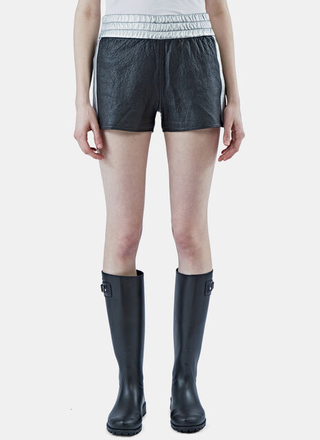 Metallic Leather Slouch Shorts