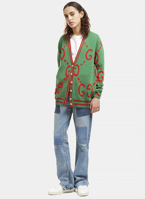 GucciGhost Reversible Embroidered Botanic Knit Cardigan