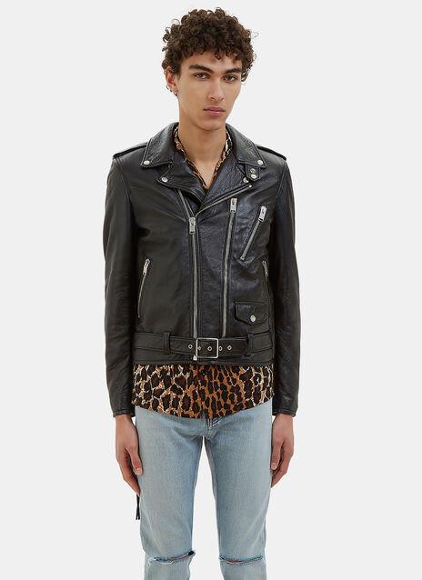 Fang Embroidered Leather Biker Jacket