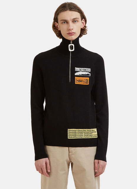 Bubblegum Patch Zip-Up Polo Sweater