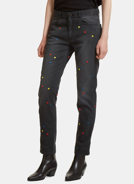 Heart-Embroidered Slim Leg Jeans