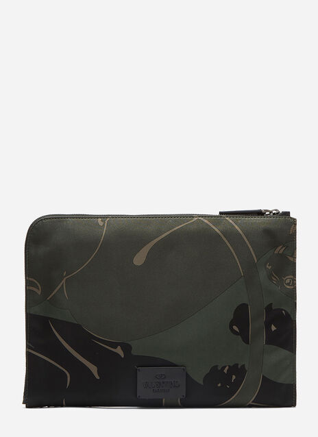 Camouflage Panther Print Zip-Around Clutch