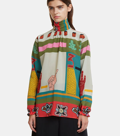 Counting Hands Funnel Neck Shirt