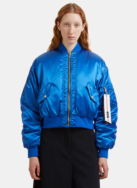 Satin Ruched Bomber Jacket