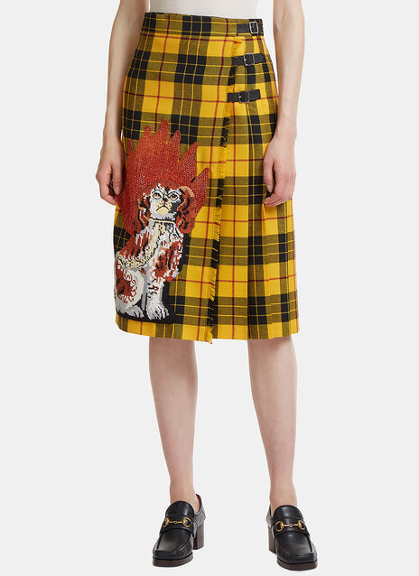 Embroidered Tartan Wool Skirt