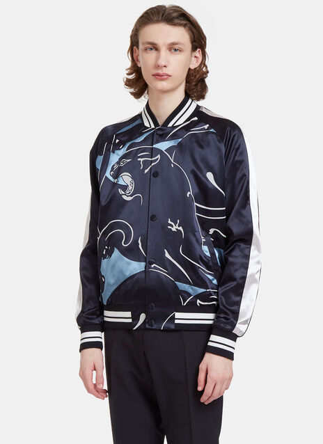 Panther Print Satin Bomber Jacket