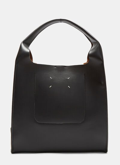 Snap-Studded Leather Tote Bag