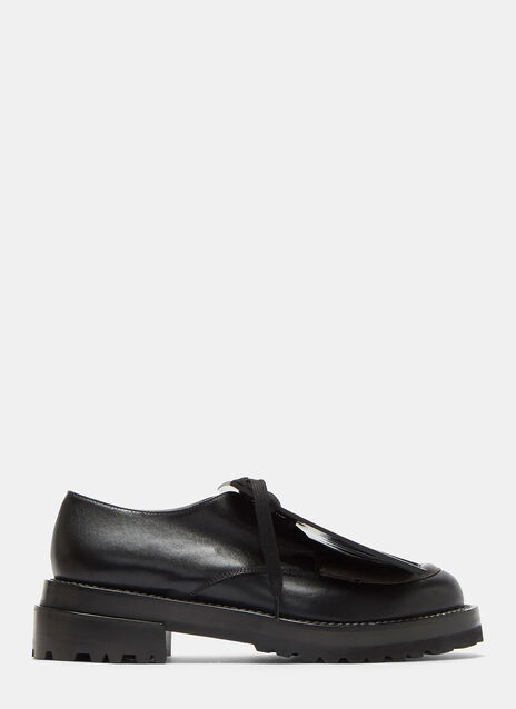 Leather Fringed Lace-Up Brogue Shoes