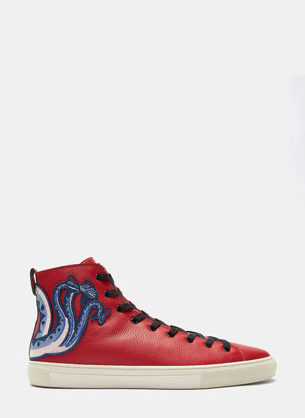 Dragon Embroidered High-Top Sneakers