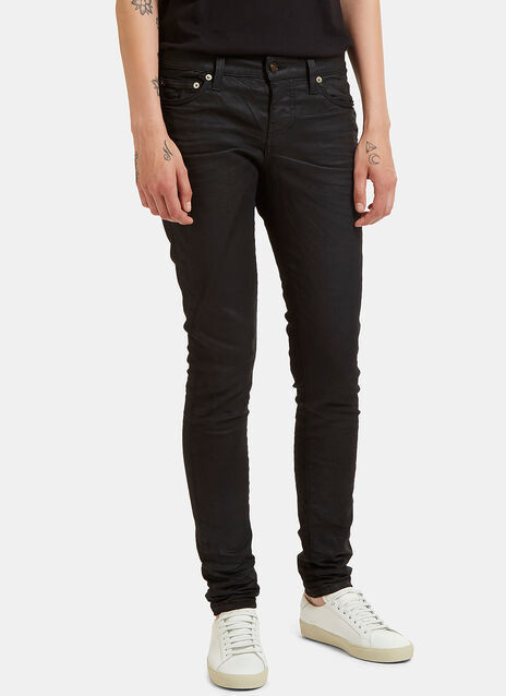 Saint Laurent 5 Pocket Treated Skinny Jeans