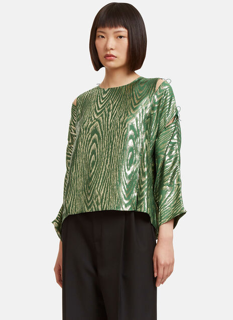 Metallic Jacquard Shoulder Tie Top