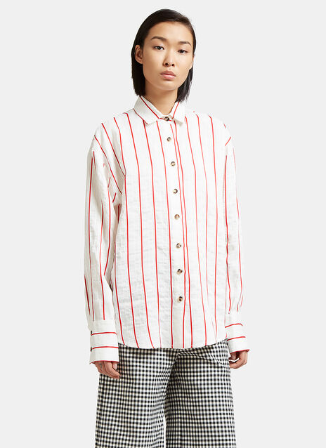 Oversized Creased Stripe Shirt