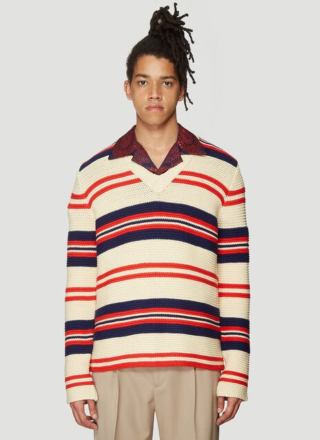구찌 Gucci V-Neck Stripe Knit Sweater in Cream
