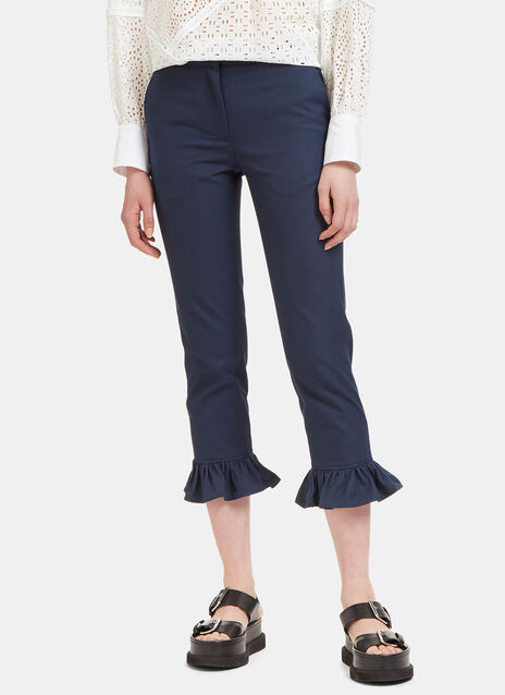 High-Waisted Cropped Frill Pants