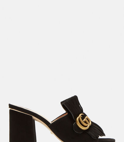 GG Mid-heel Fringed Marmont Mules in Black