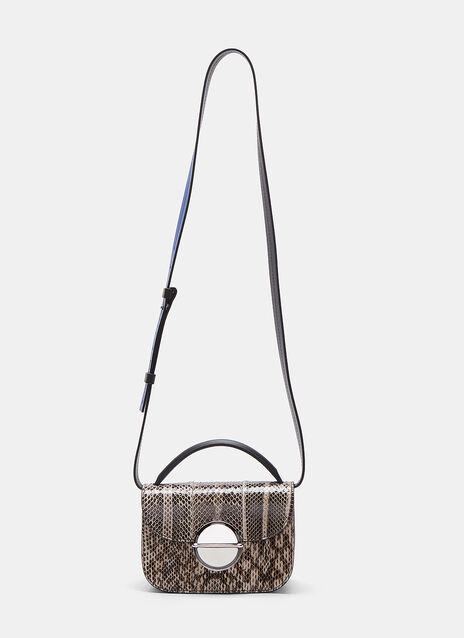 Snakeskin Contrast Shoulder Bag