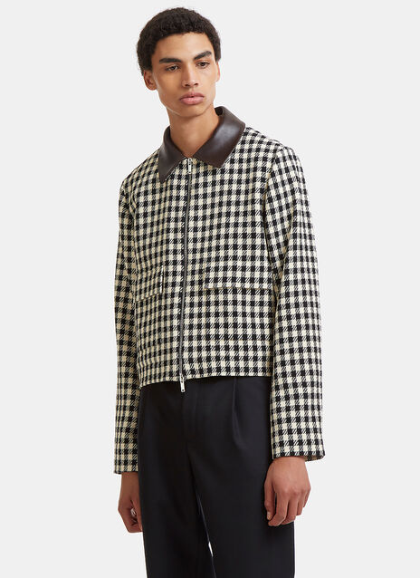 Wales Bonner Louis Leather Collared Checked Jacket