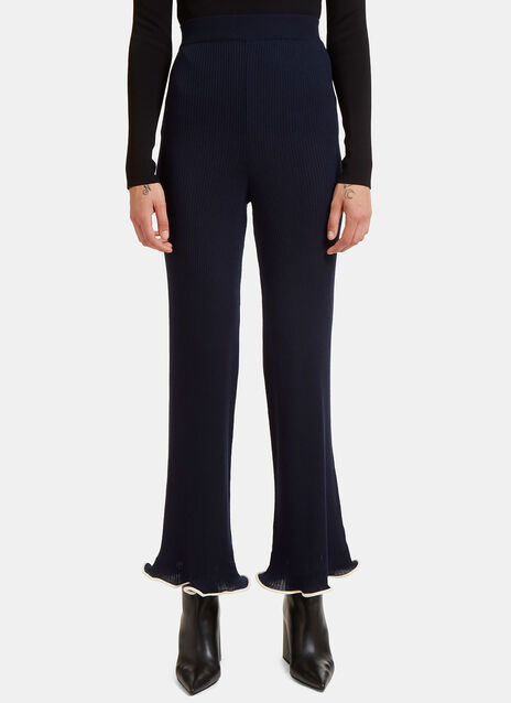 Ribbed Knit Frilled Cuff Pants