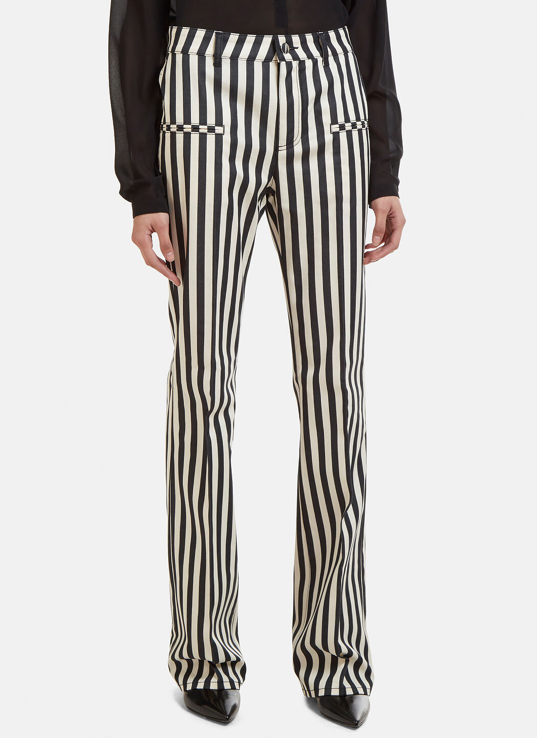 Serge Striped Cotton-blend Flared Pants - Black Altuzarra Free Shipping The Cheapest Free Shipping Affordable Latest Collections Online Clearance Visit New QeTZp