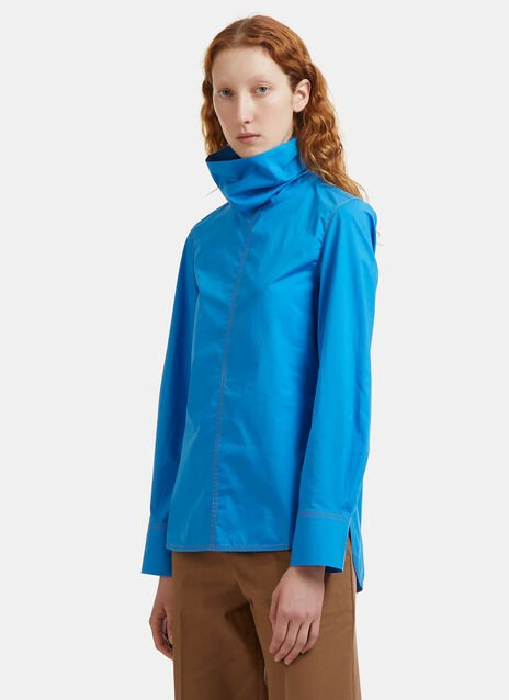 Tactile Poplin Roll Neck Shirt