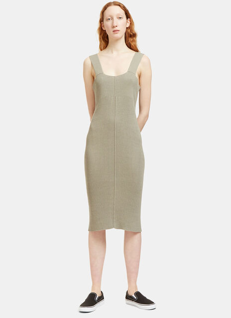 Contrast Ribbed Mid-Length Dress