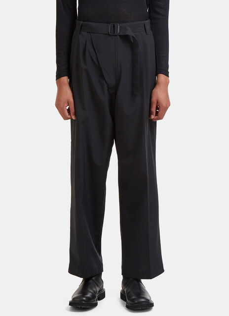 Wide Leg Buckled Belt Three Layer Pants
