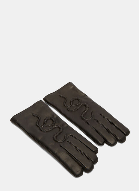 Snake Embossed Leather Gloves
